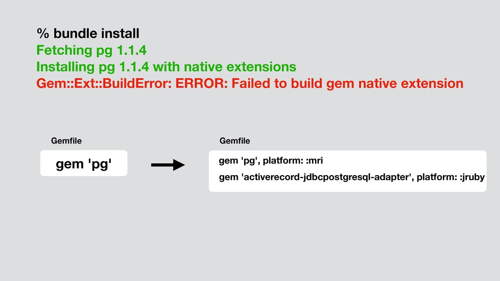 % bundle install Fetching pg 1.1.4 Installing p...