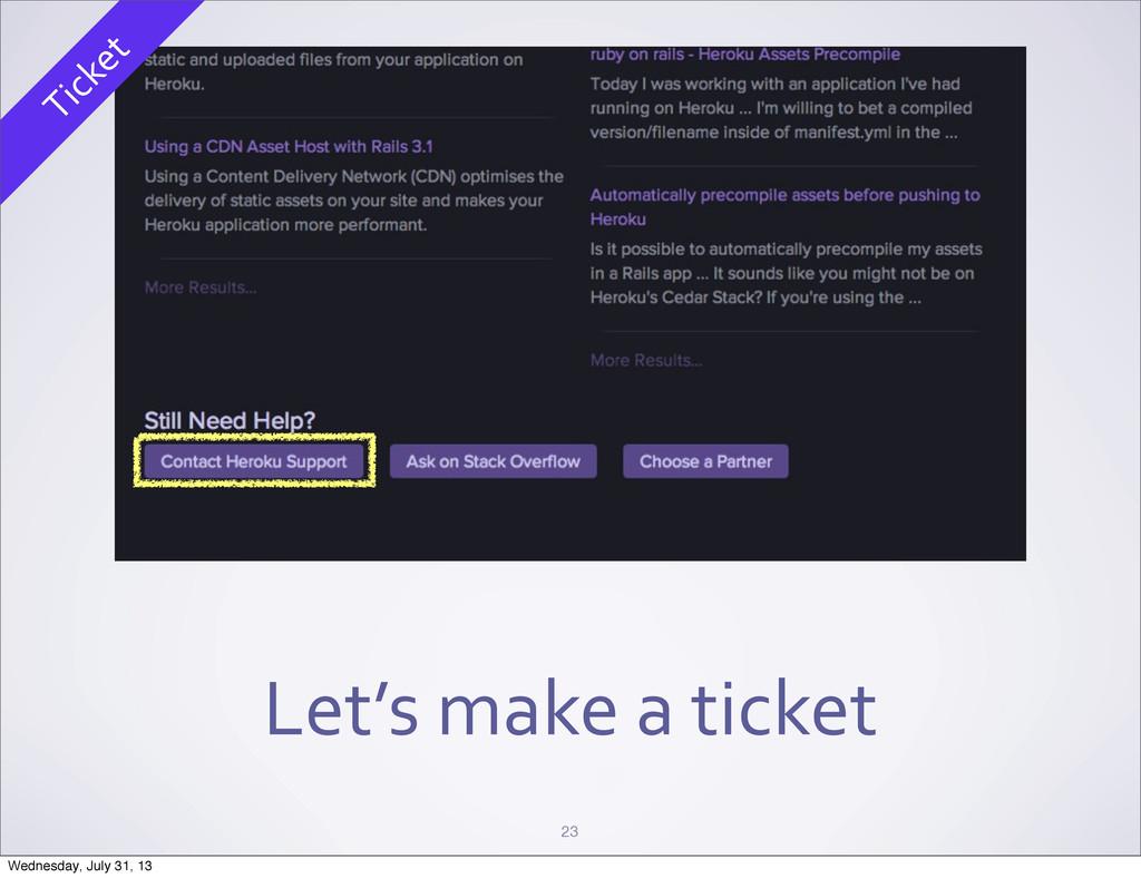 Let's make a ticket 23 Ticket Wednesda...