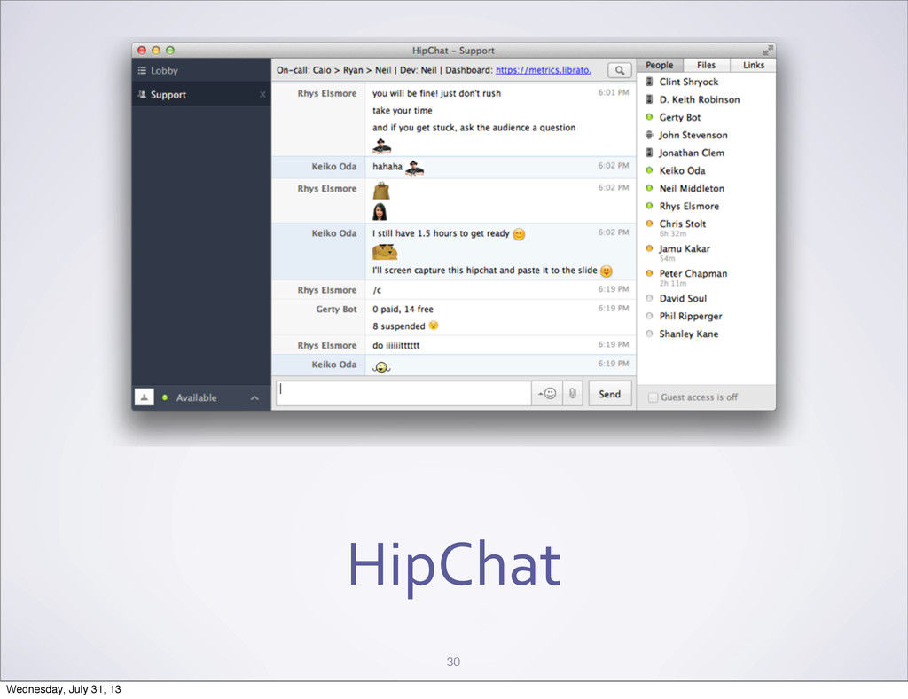 HipChat 30 Wednesday, July 31, 13