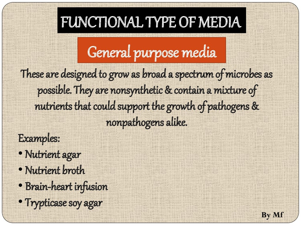FUNCTIONAL TYPE OF MEDIA These are designed to ...