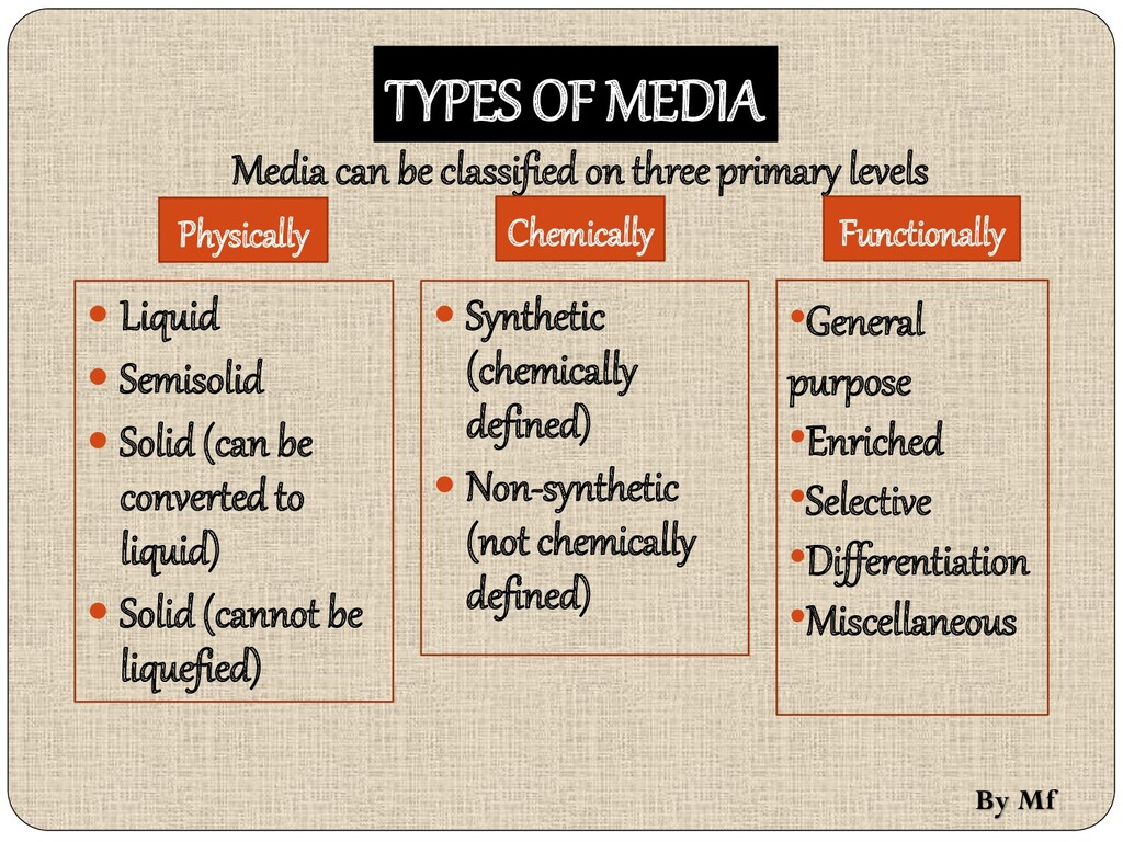 TYPES OF MEDIA Media can be classified on three...