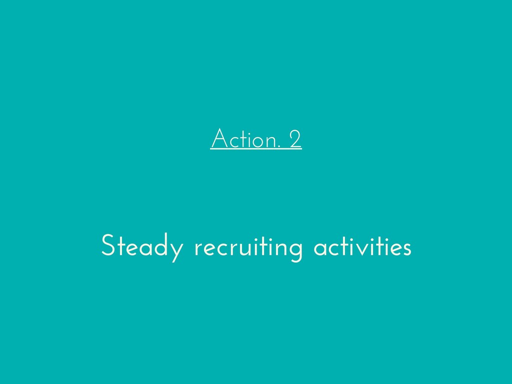 Action. 2 Steady recruiting activities