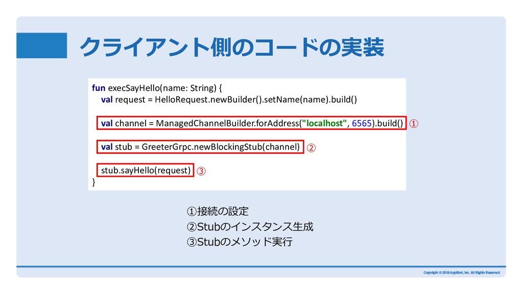 クライアント側のコードの実装 ①接続の設定 ②Stubのインスタンス⽣成 ③Stubのメソッド...
