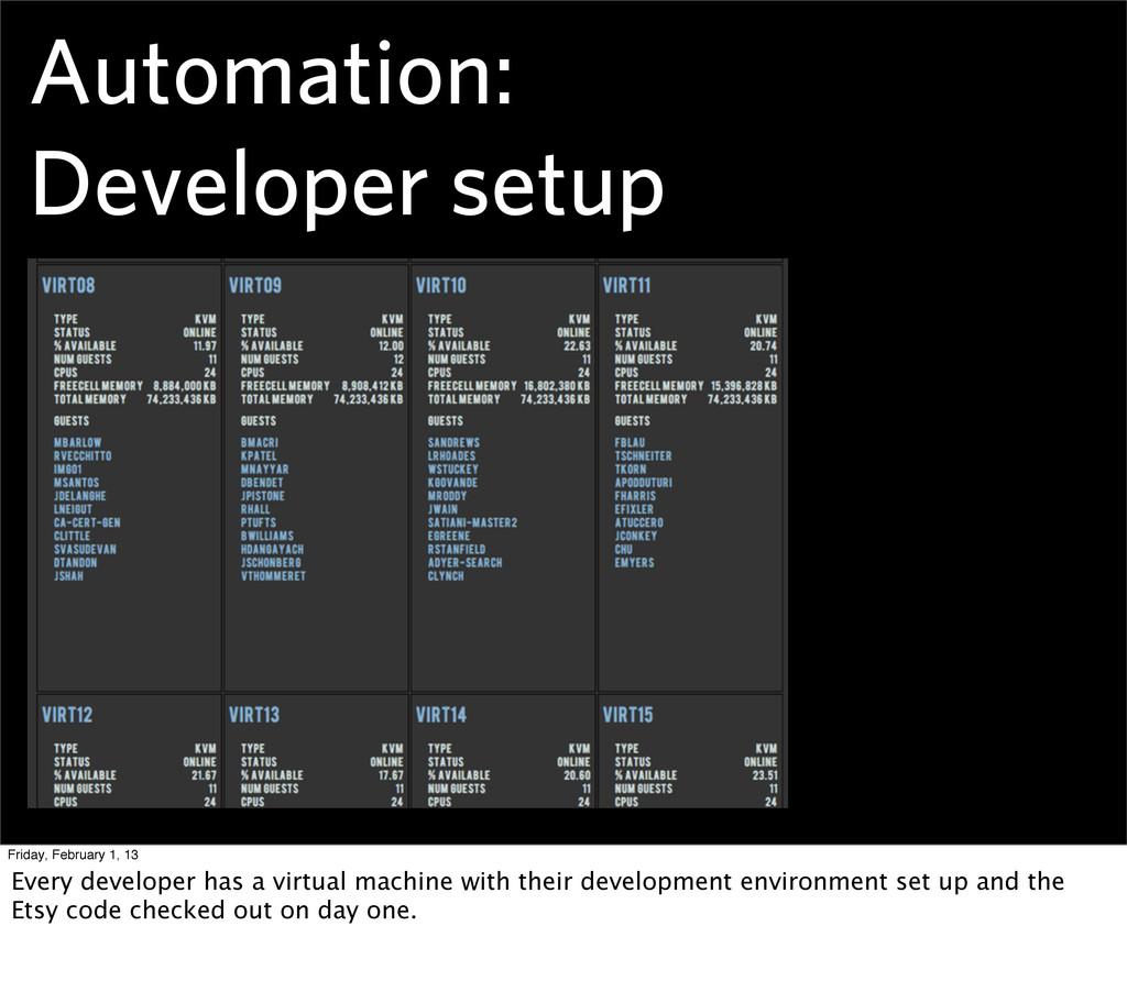 Automation: Developer setup Friday, February 1,...