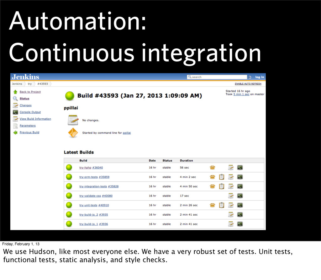 Automation: Continuous integration Friday, Febr...