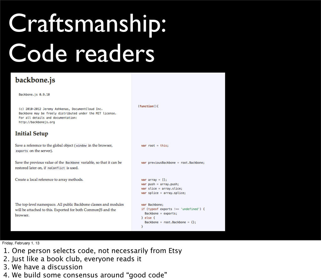 Craftsmanship: Code readers Friday, February 1,...