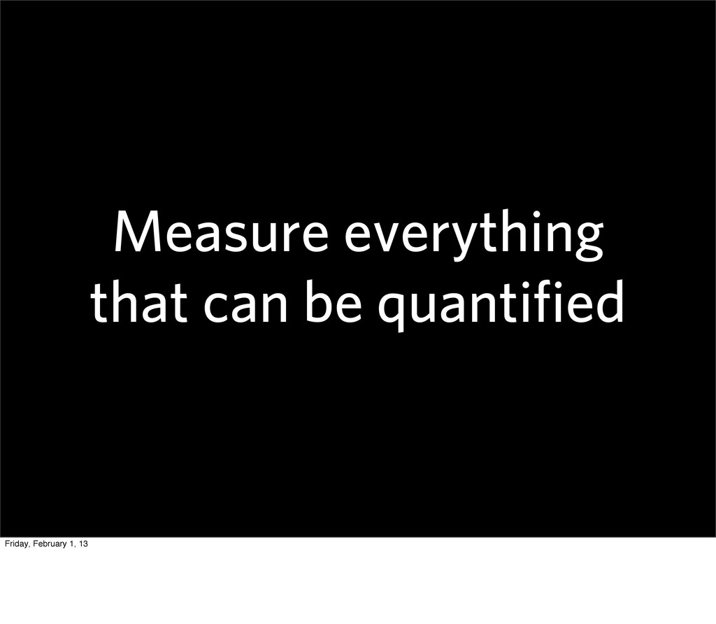 Measure everything that can be quantified Friday...