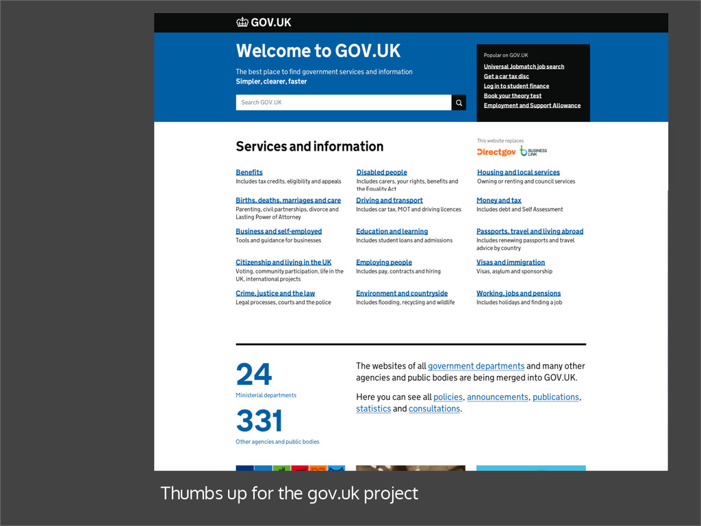 Thumbs up for the gov.uk project