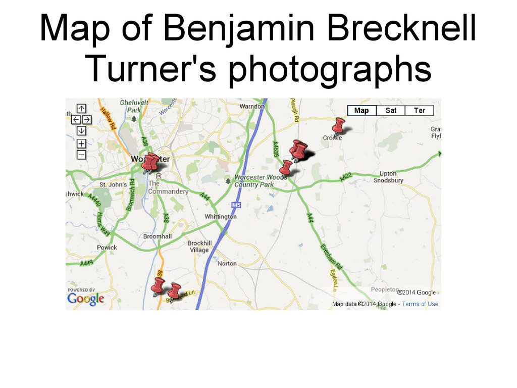 Map of Benjamin Brecknell Turner's photographs
