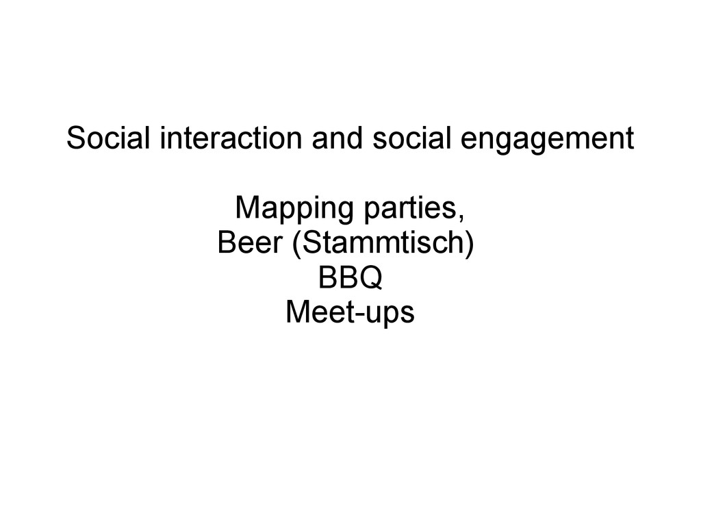 Social interaction and social engagement Mappin...