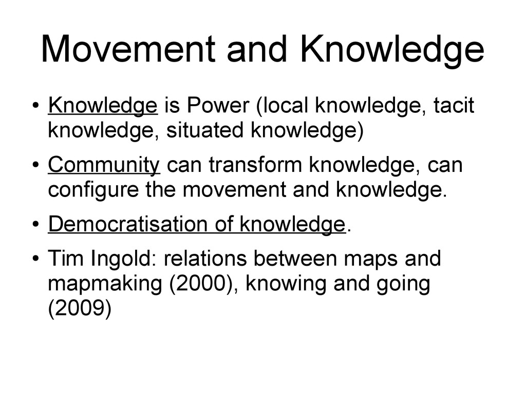 Movement and Knowledge ● Knowledge is Power (lo...