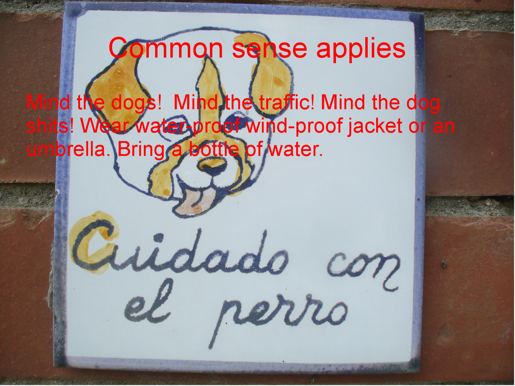 Common sense applies Mind the dogs! Mind the tr...