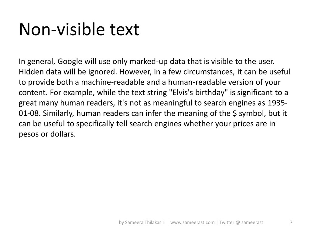 Non-visible text In general, Google will use on...