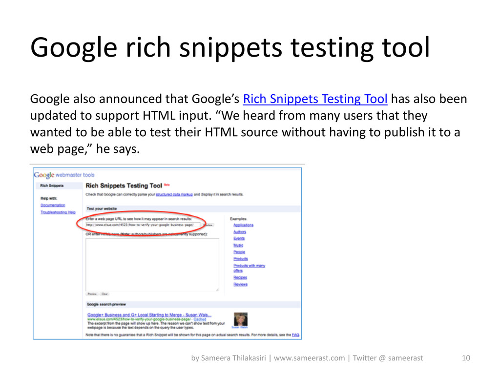 Google also announced that Google's Rich Snippe...