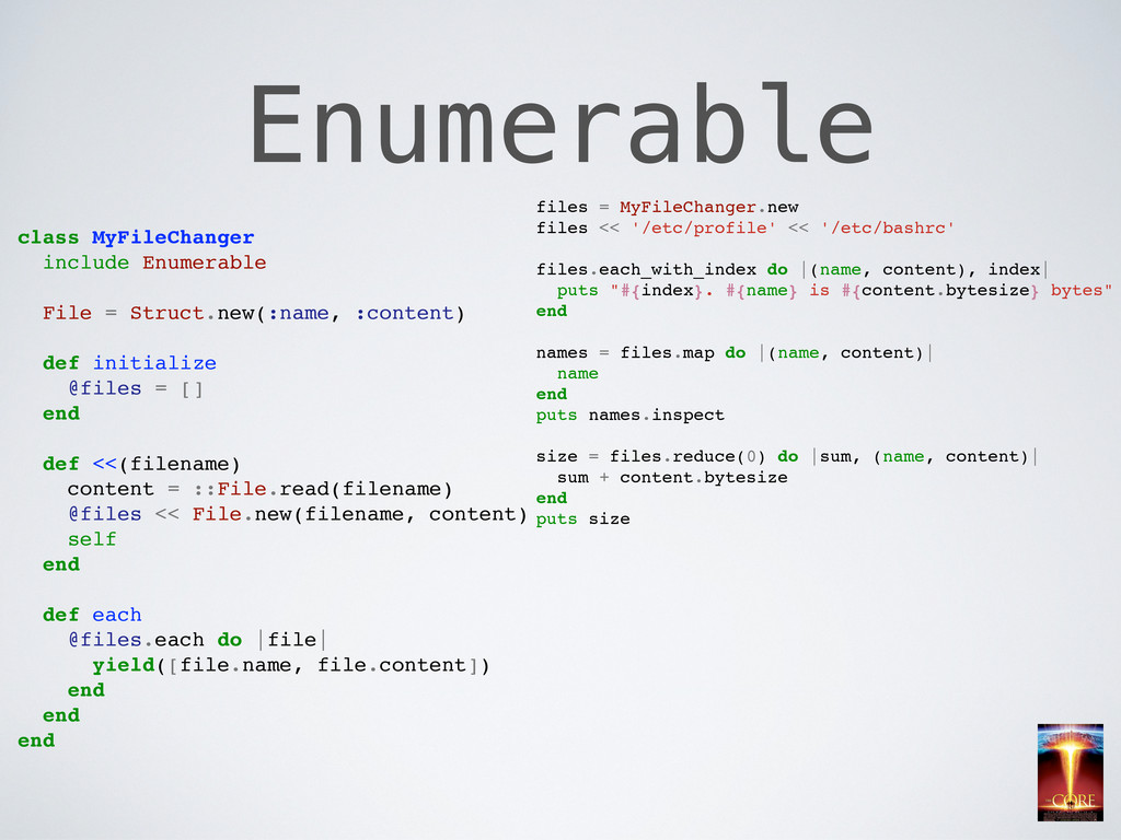 Enumerable class MyFileChanger include Enumerab...