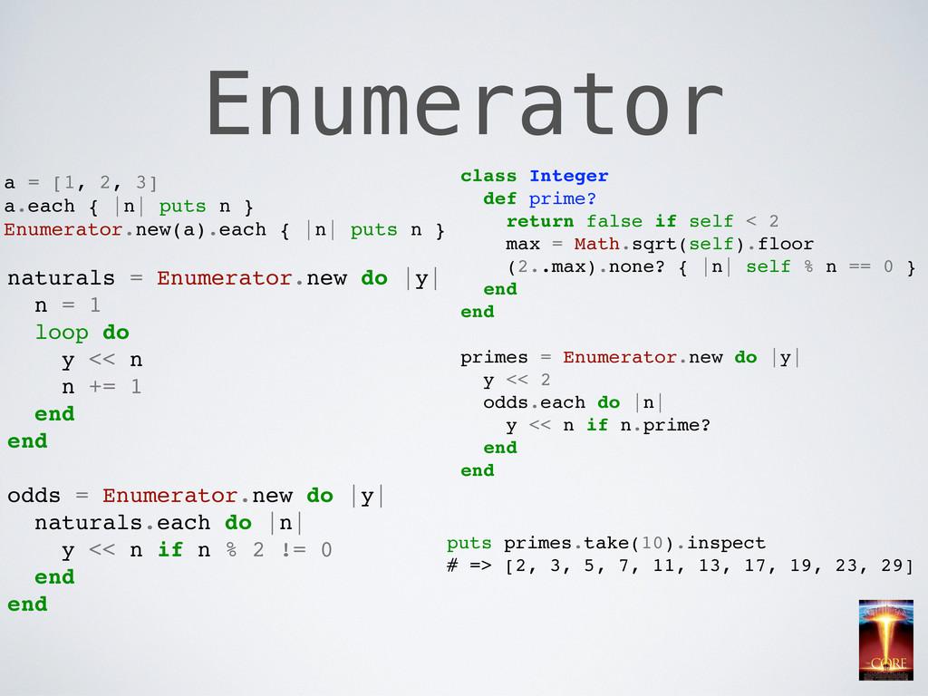 Enumerator a = [1, 2, 3] a.each { |n| puts n } ...