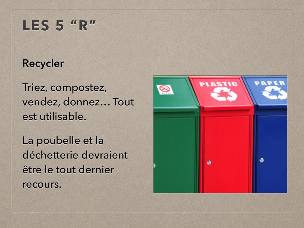"""LES 5 """"R"""" Recycler Triez, compostez, vendez, do..."""