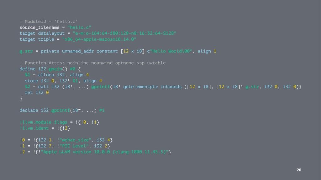 """; ModuleID = 'hello.c' source_filename = """"hello..."""