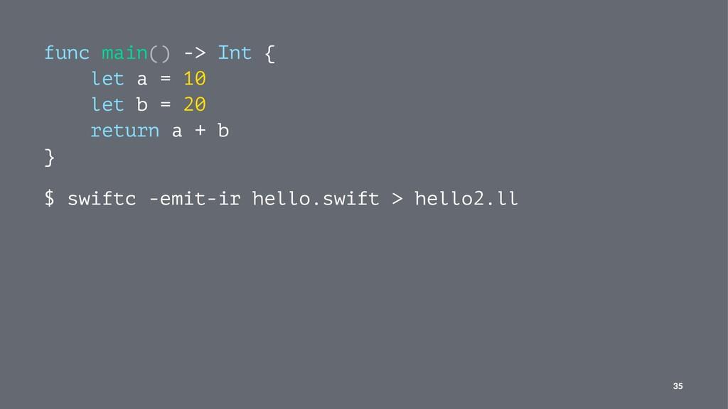 func main() -> Int { let a = 10 let b = 20 retu...