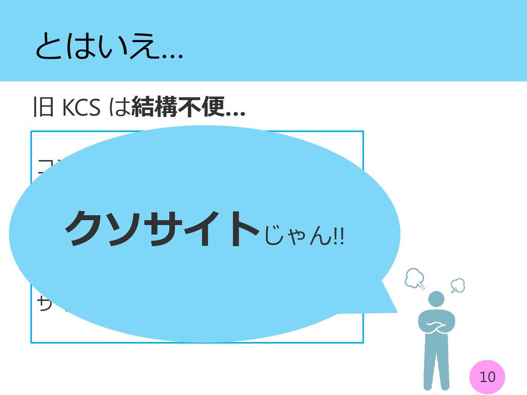 とはいえ… 旧 KCS は結構不便… 10 コンテストを開ける人 : だけ セキュリティ面 :...