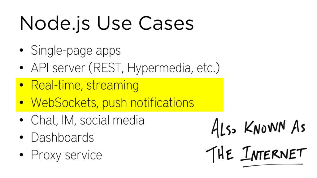 Node.js Use Cases • Single-page apps • API serv...