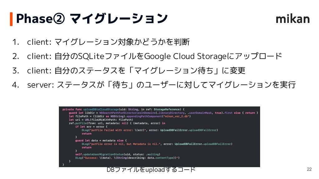 1. client: マイグレーション対象かどうかを判断 2. client: 自分のSQLi...