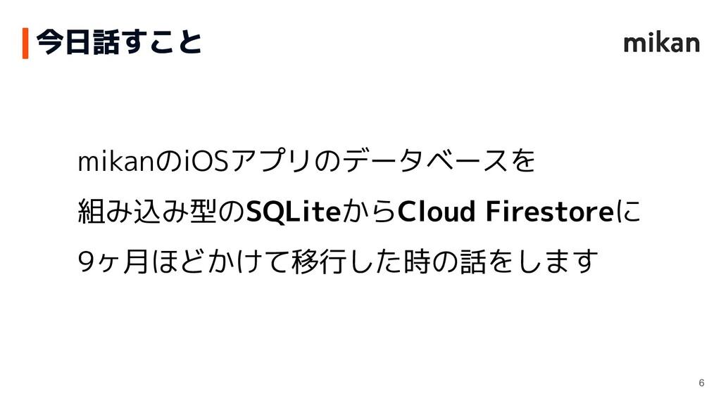 今日話すこと mikanのiOSアプリのデータベースを 組み込み型のSQLiteからCloud...