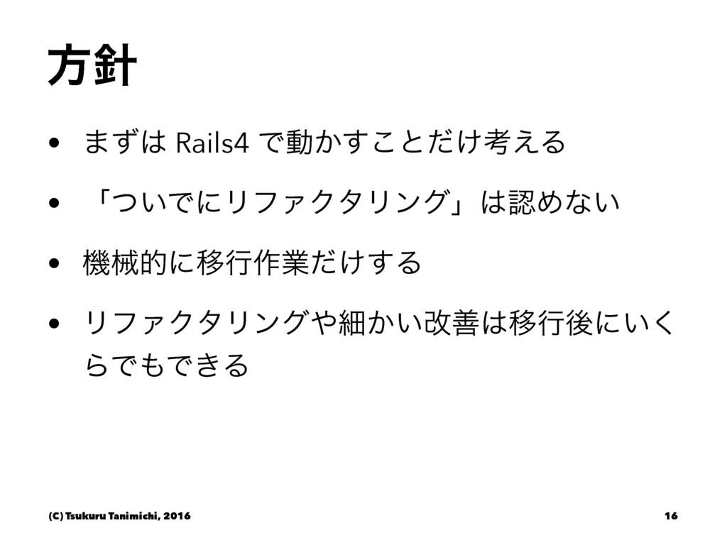 ํ • ·ͣ Rails4 Ͱಈ͔͢͜ͱ͚ͩߟ͑Δ • ʮ͍ͭͰʹϦϑΝΫλϦϯάʯΊ...