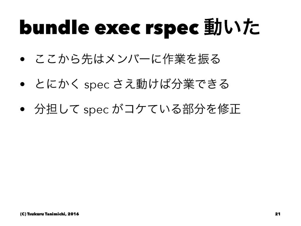 bundle exec rspec ಈ͍ͨ • ͔͜͜Βઌϝϯόʔʹ࡞ۀΛৼΔ • ͱʹ͔͘...