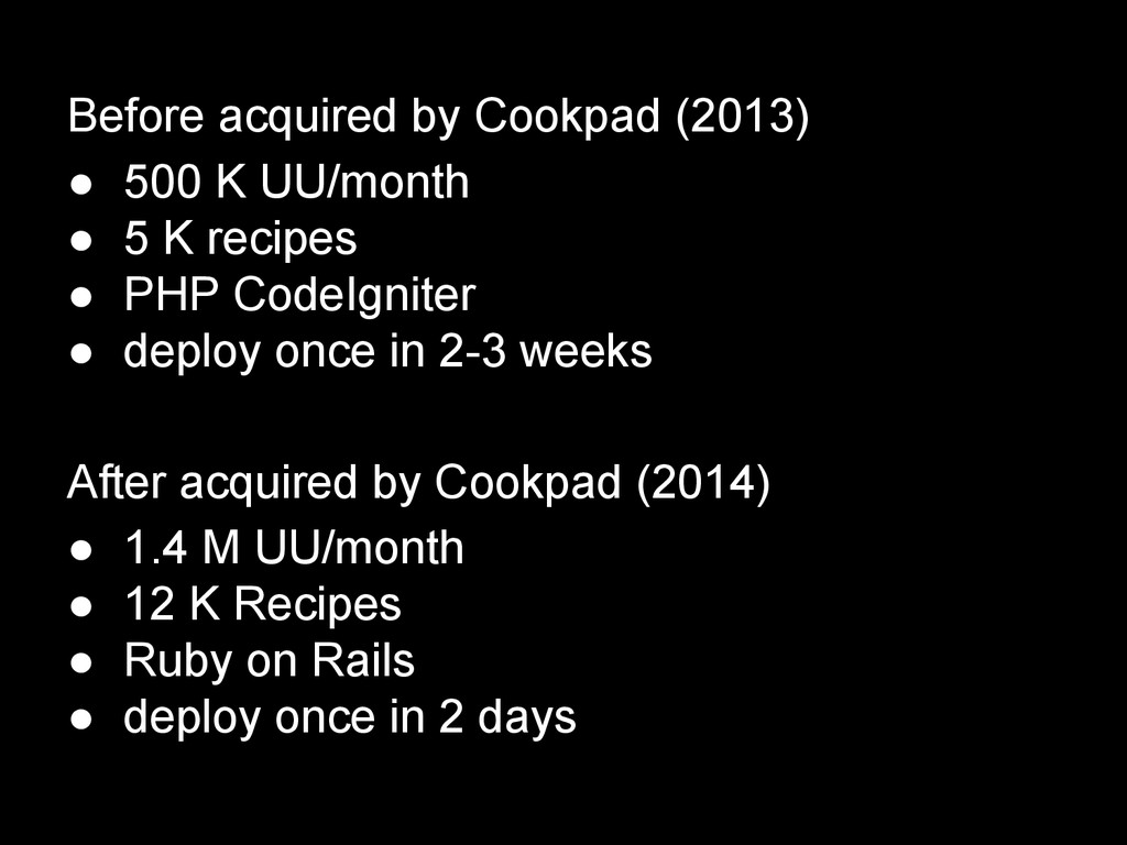 Before acquired by Cookpad (2013) ● 500 K UU/mo...