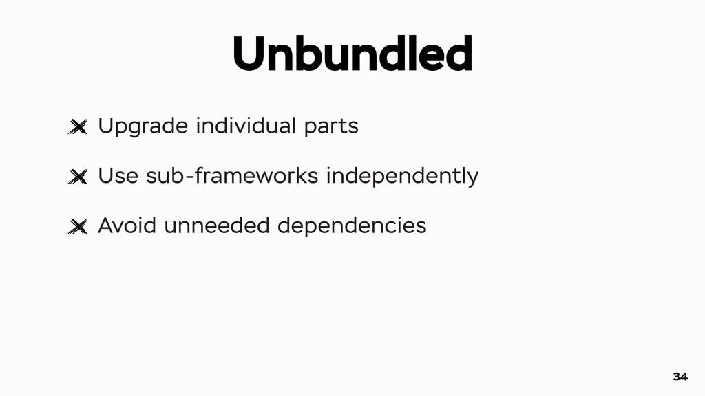 Unbundled Upgrade individual parts Use sub-fram...