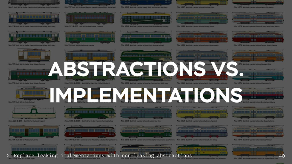 ABSTRACTIONS VS. IMPLEMENTATIONS 40 Replace lea...