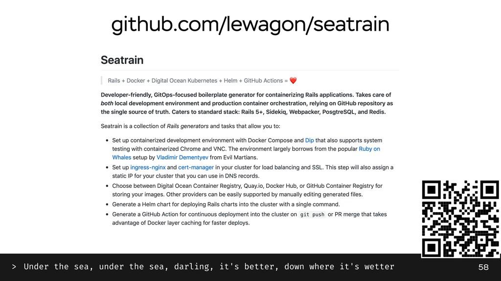 github.com/lewagon/seatrain 58 Under the sea, u...