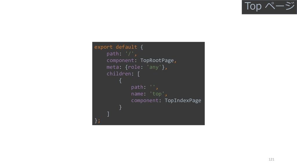 121 export default { path: '/', component: TopR...