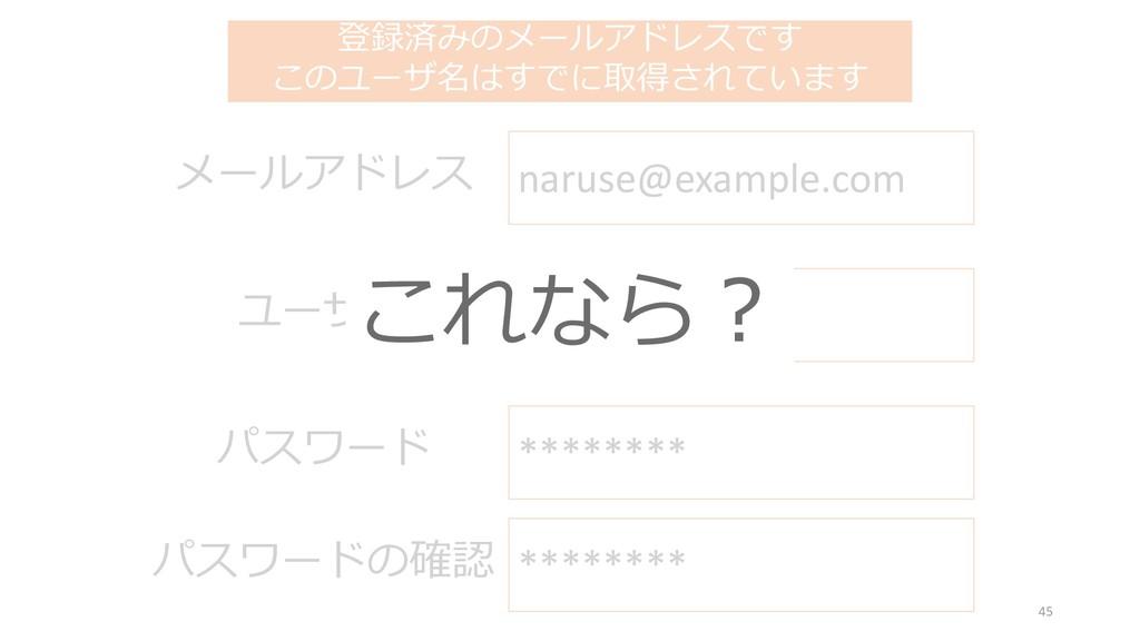登録済みのメールアドレスです このユーザ名はすでに取得されています naruse ユーザ名 n...