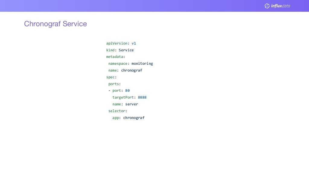 Chronograf Service apiVersion: v1 kind: Service...