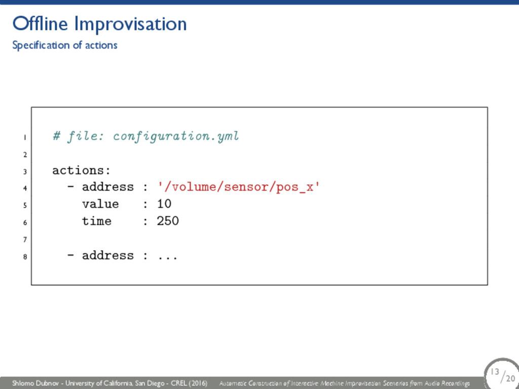 Offline Improvisation Specification of actions ...
