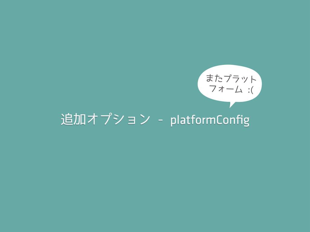 追加オプション - platformConfig またプラット フォーム :(