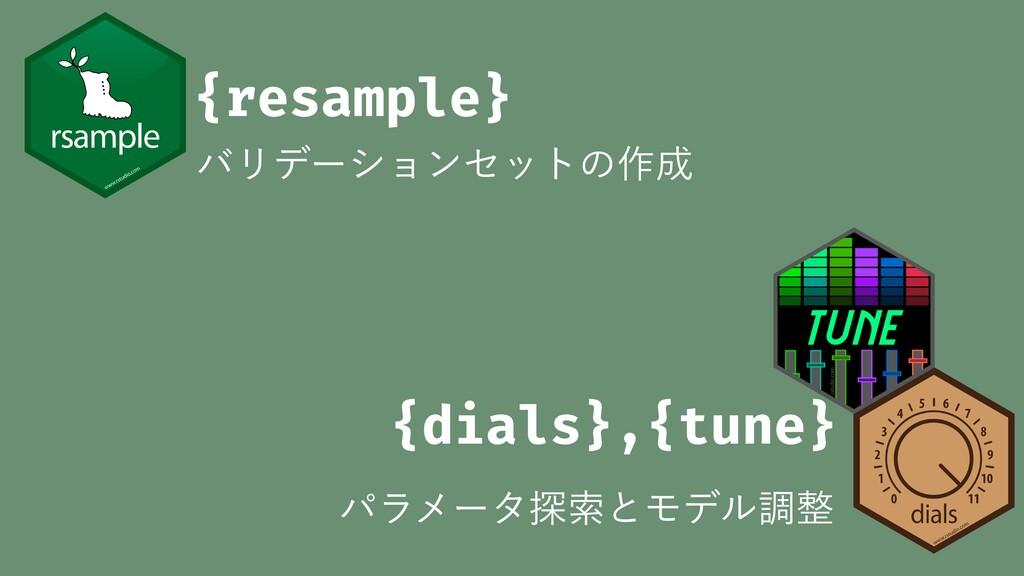 {dials},{tune} ύϥϝʔλ୳ࡧͱϞσϧௐ {resample} όϦσʔγϣϯ...