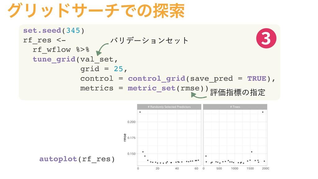 άϦουαʔνͰͷ୳ࡧ set.seed(345) rf_res <- rf_wflow %>...