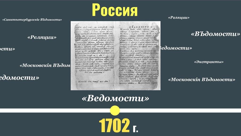 «Московскiя ВЪдомости» «Ведомости» 1702 г. Росс...