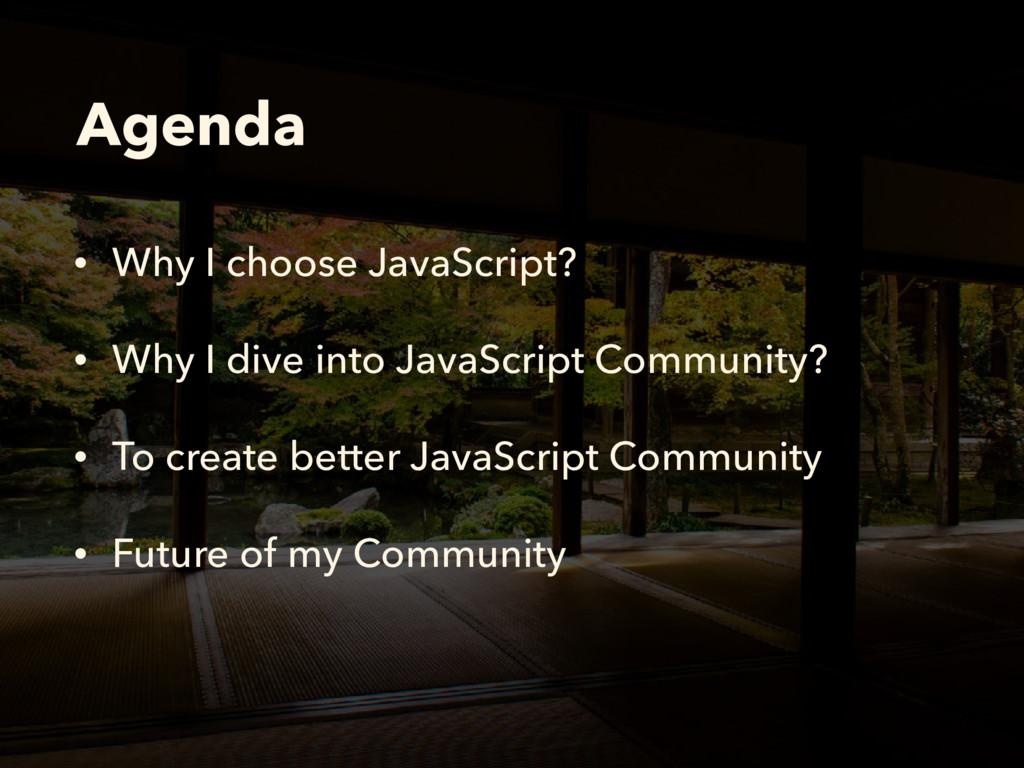 Agenda • Why I choose JavaScript? • Why I dive ...