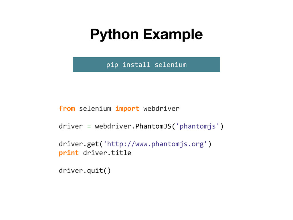 Python Example from selenium import webdriver d...