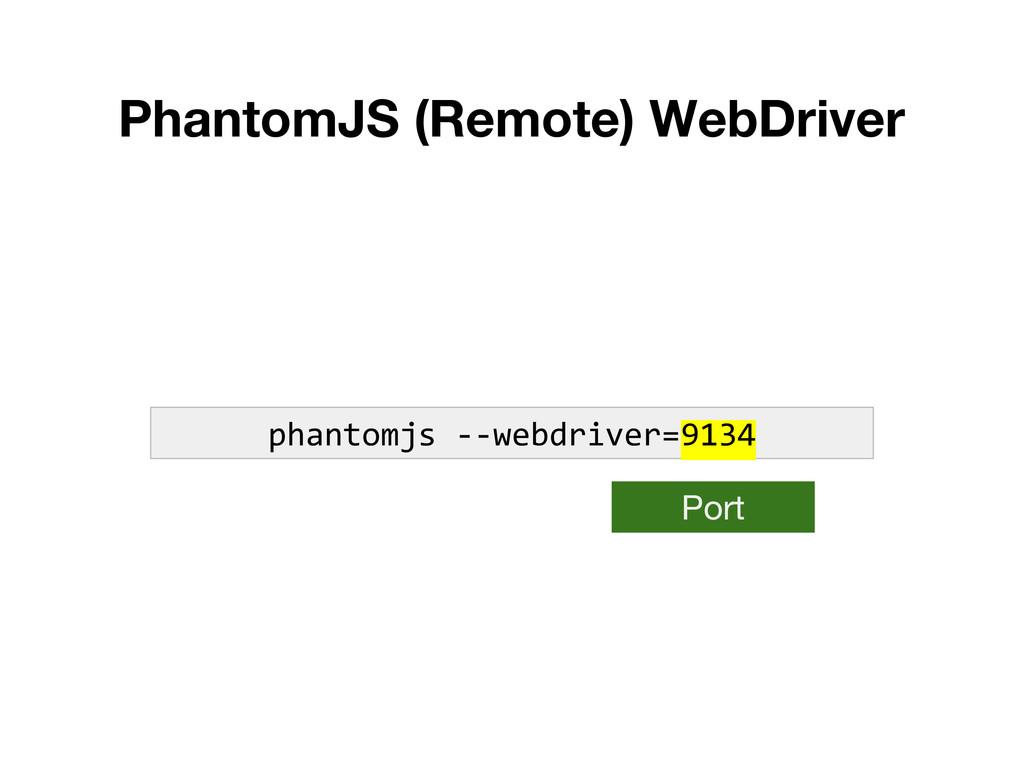 PhantomJS (Remote) WebDriver phantomjs --webdri...