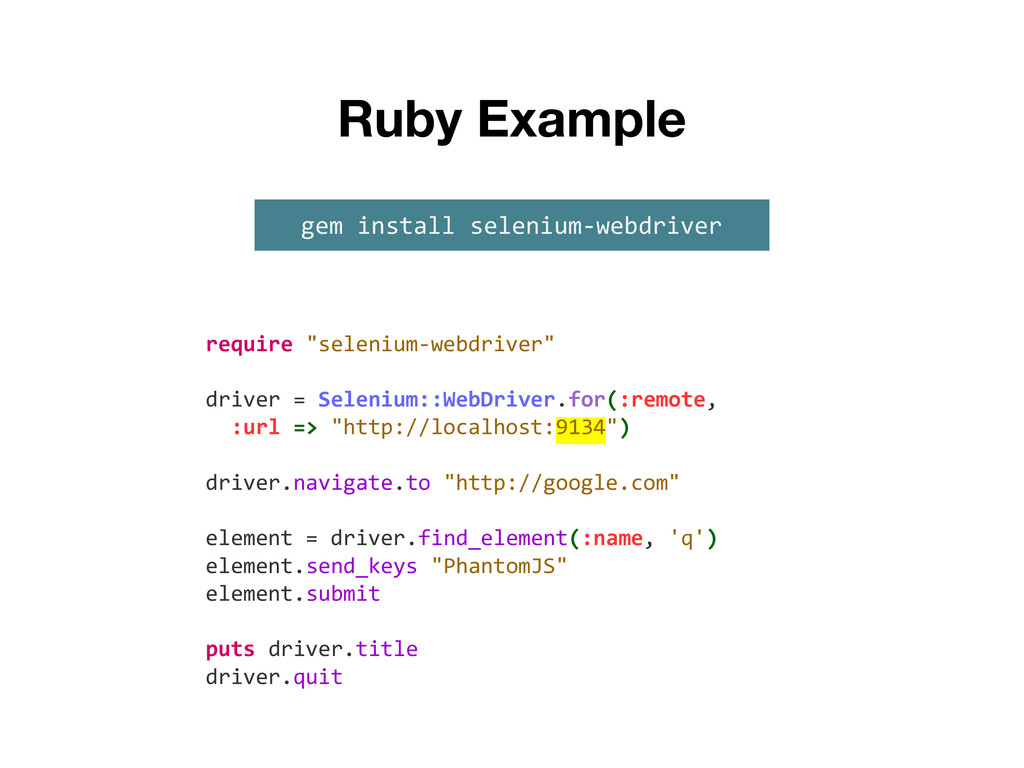 "Ruby Example require ""selenium-webdriver"" drive..."