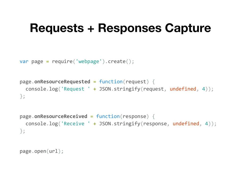 Requests + Responses Capture var page = require...
