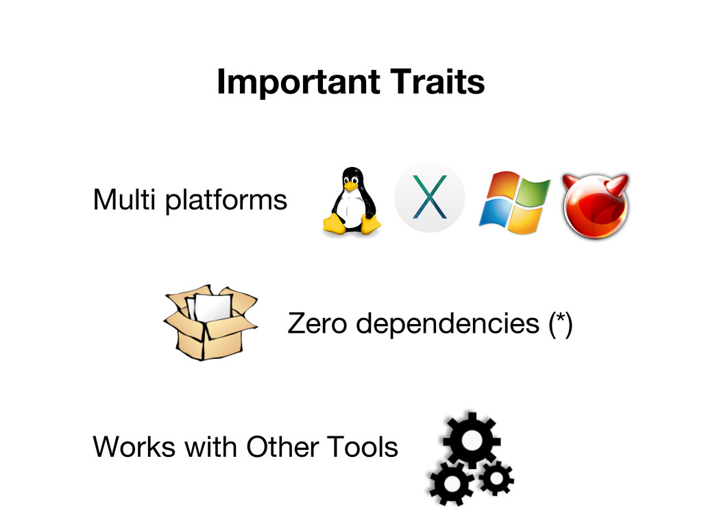 Important Traits Multi platforms Zero dependenc...