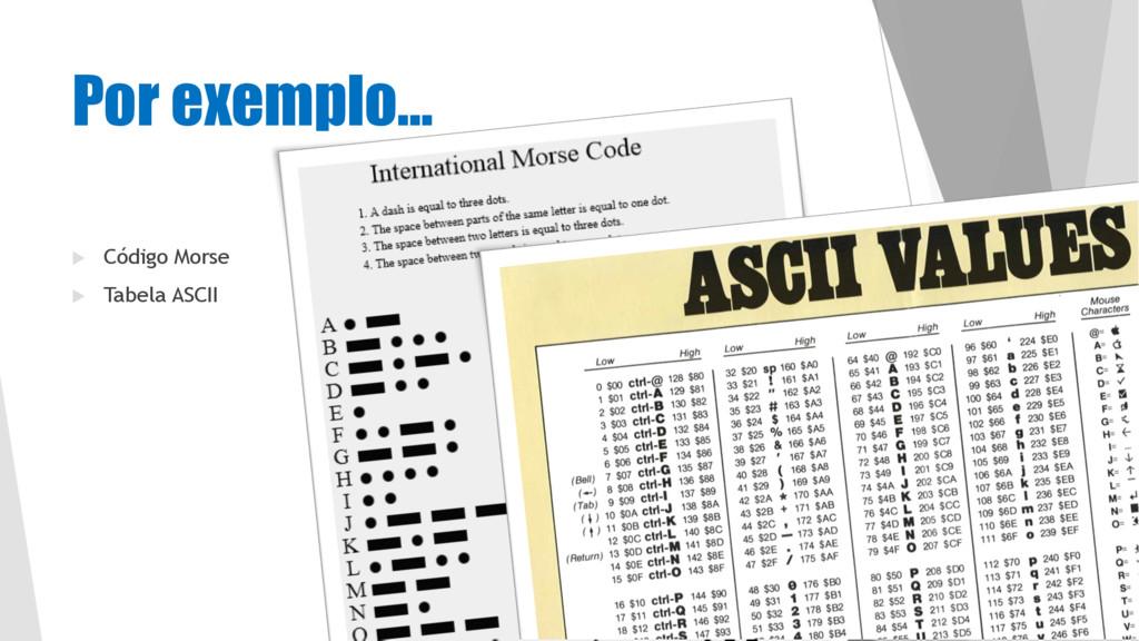 Por exemplo… u Código Morse u Tabela ASCII