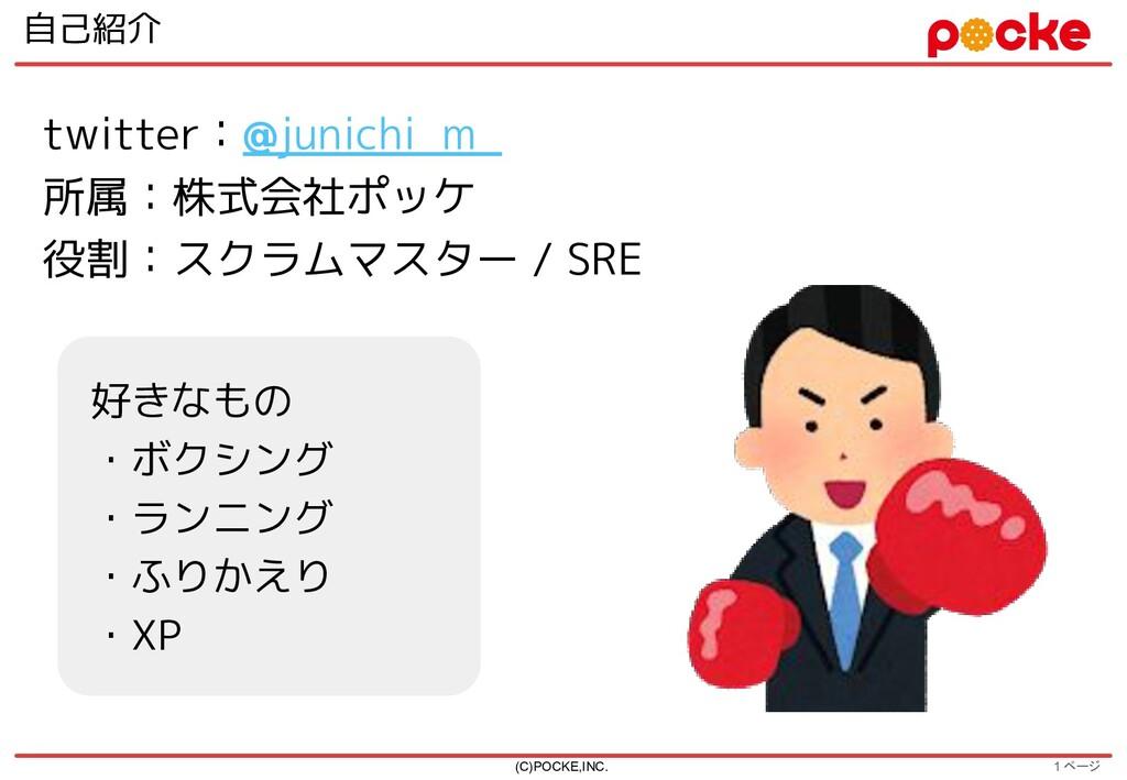 1 ページ 自己紹介 (C)POCKE,INC. twitter:@junichi_m_ 所属...