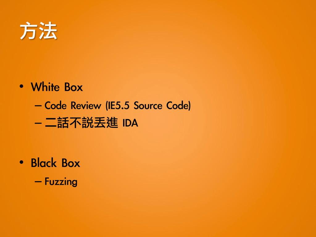 方法  • White Box –Code Review (IE5.5 So...
